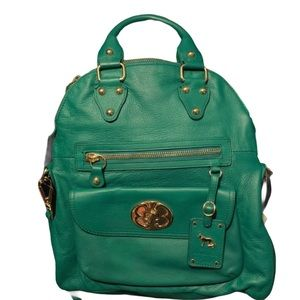 Emma Fox Green Leather Foldover Bag NWT